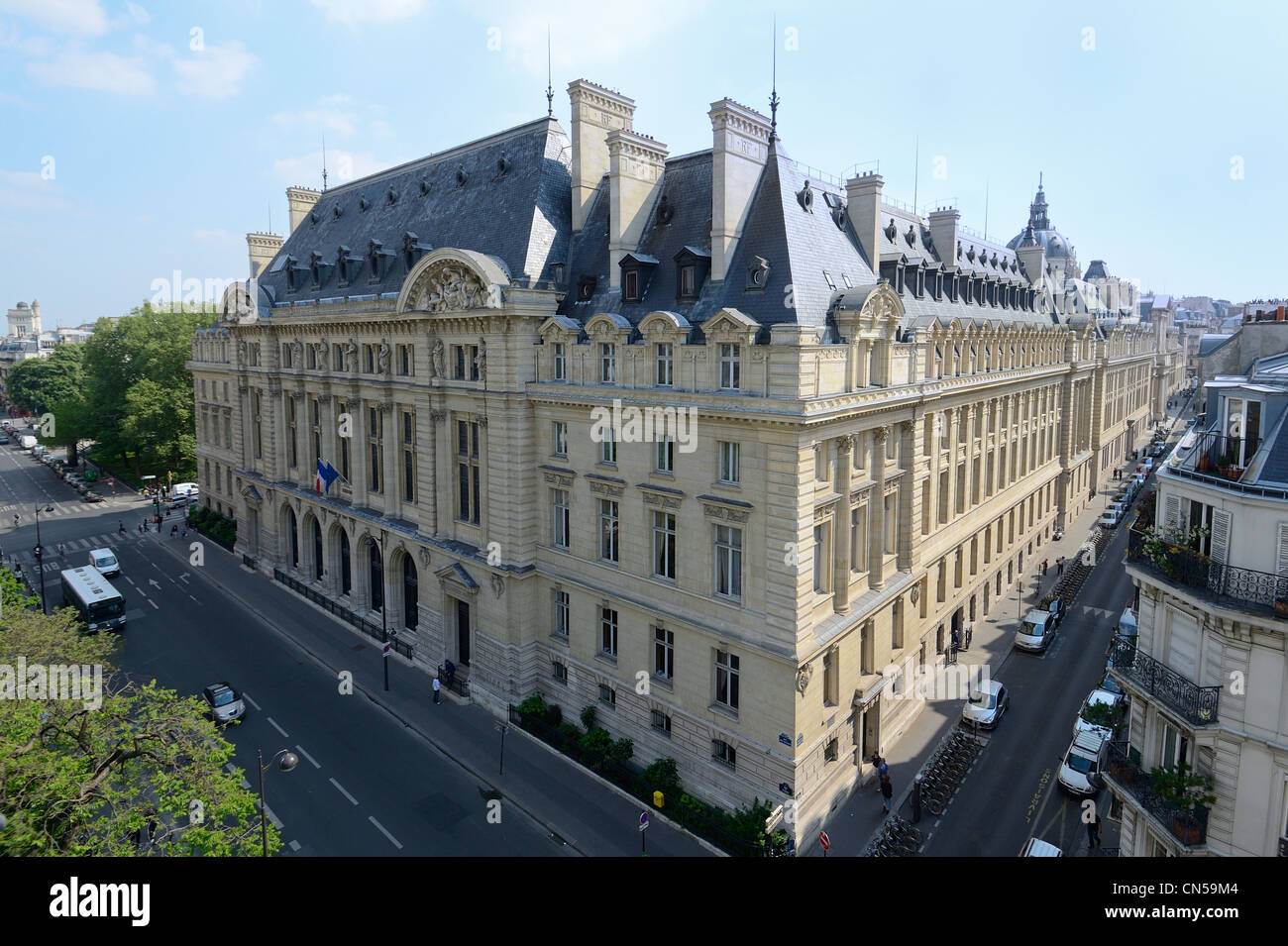 France, Paris, the Sorbonne university in the Latin district - Stock Image