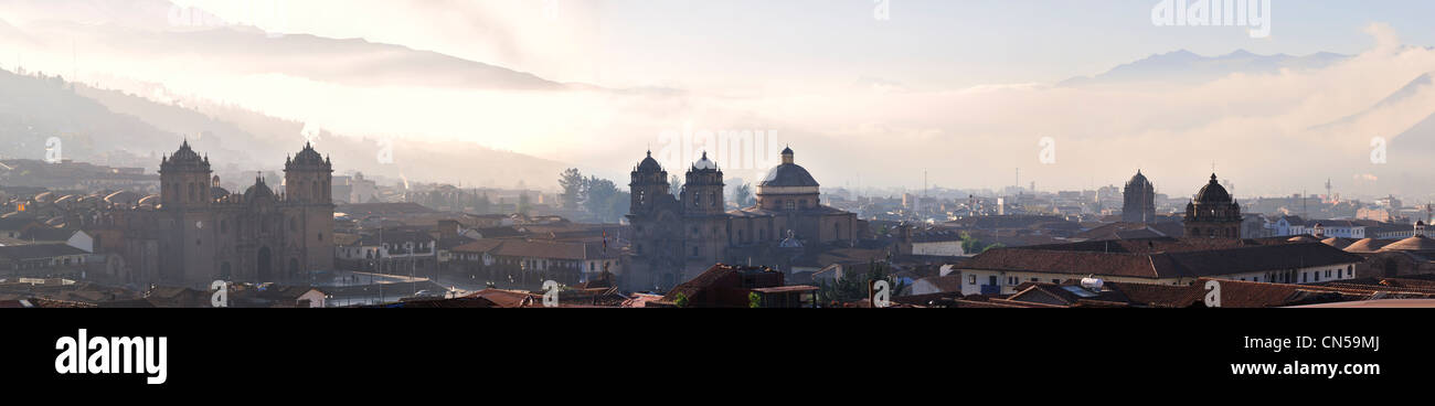 Peru, Cuzco Province, Cuzco, listed as World Heritage by UNESCO, panoramic view of the historic center in morning - Stock Image