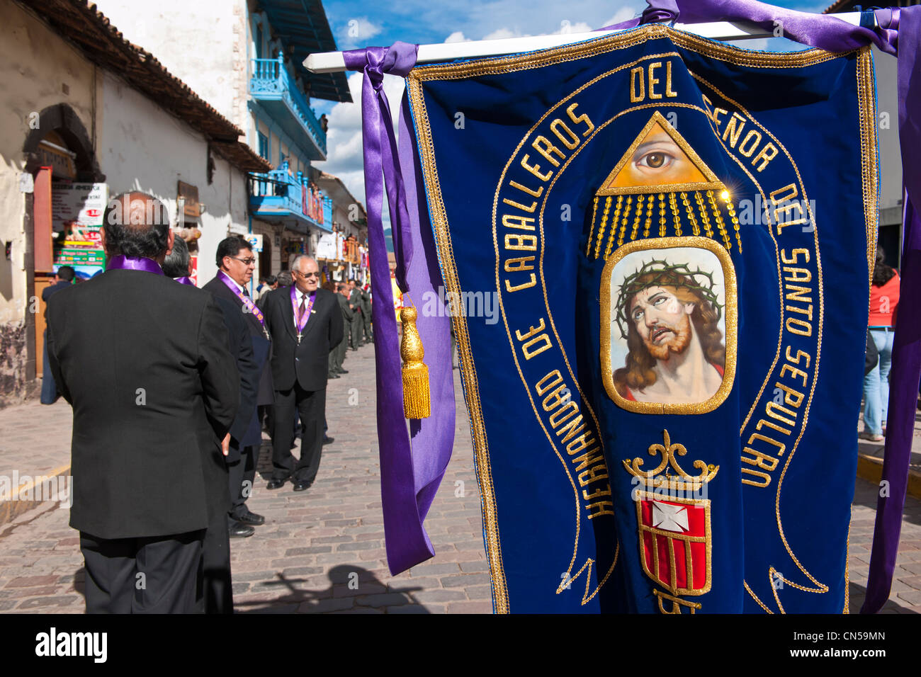 Peru, Cuzco Province, Cuzco, listed as World Heritage by UNESCO, Easter, Easter Monday, a procession of Christ on Stock Photo