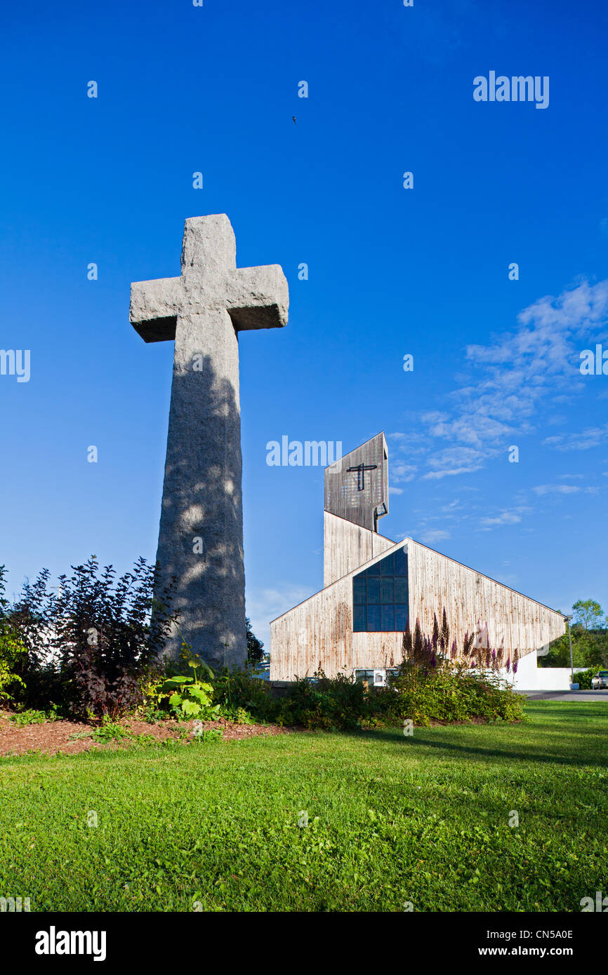 Canada, Quebec Province, Gaspe Peninsula, Gaspe, the Christ King Cathedral is the only wooden cathedral in North - Stock Image