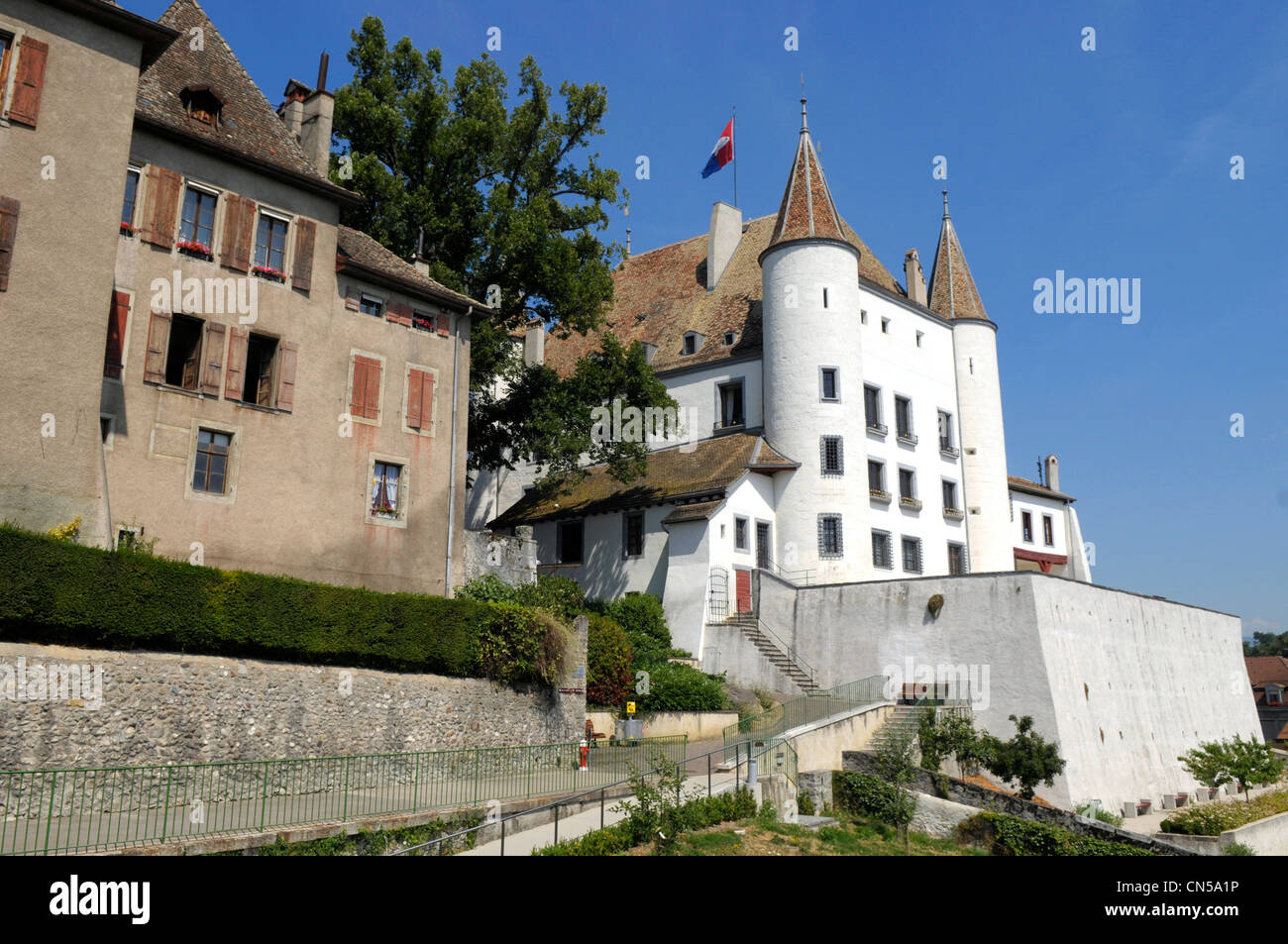 Switzerland, Canton of Vaud, Nyon, castle of the city housing a museum - Stock Image
