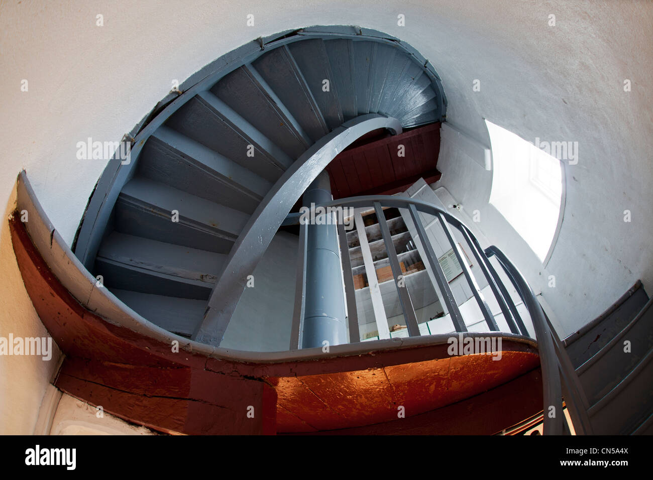Canada, Quebec Province, Bas Saint Laurent, Ile Verte, the lighthouse, stairs - Stock Image