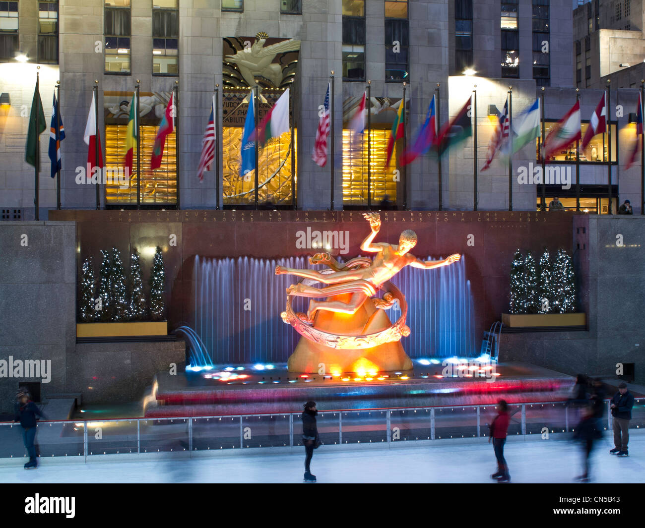 Prometheus and skating rink in Rockefeller Center, NYC Stock