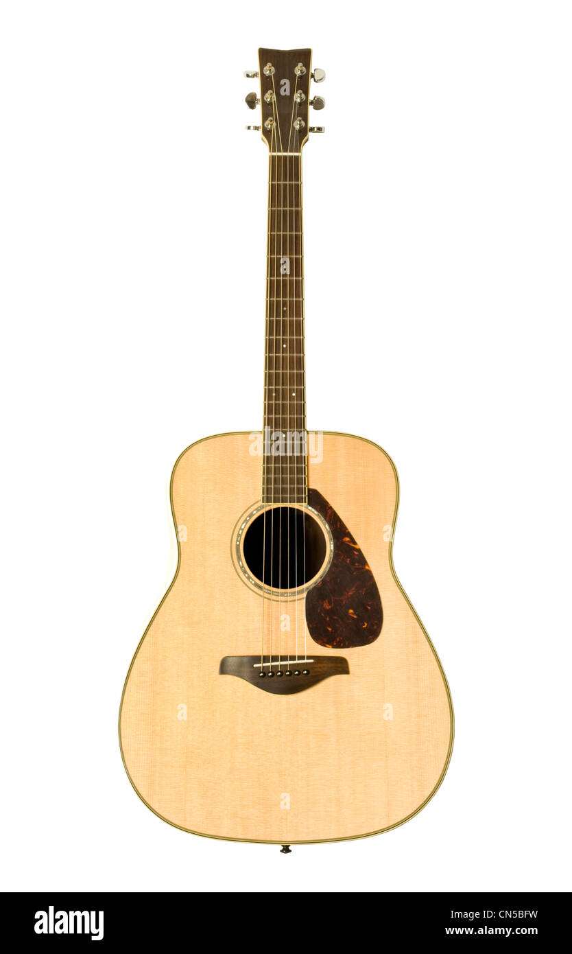 Yamaha acoustic guitar against white background - Stock Image