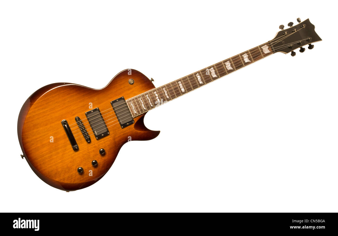 Electric guitar isolated against a white background - Stock Image