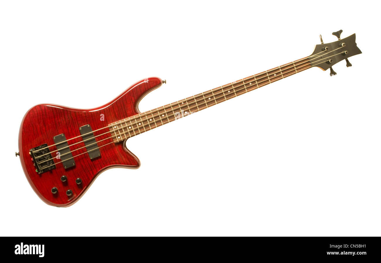 Red bass guitar isolated against white background - Stock Image