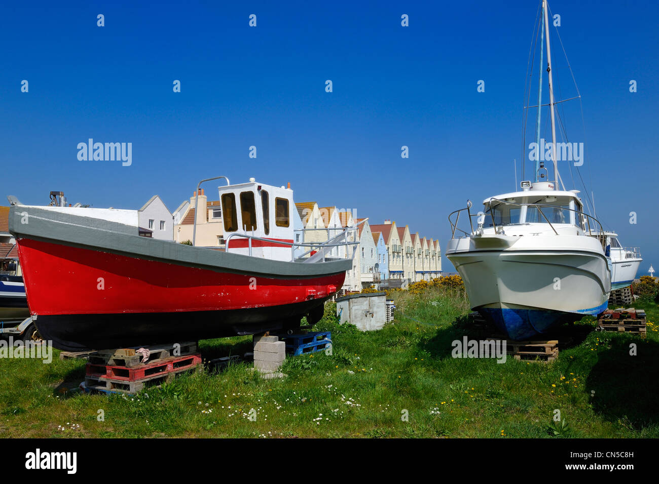 United Kingdom, Channel islands, Alderney, boat on dry-dock with in the Harbour Stock Photo