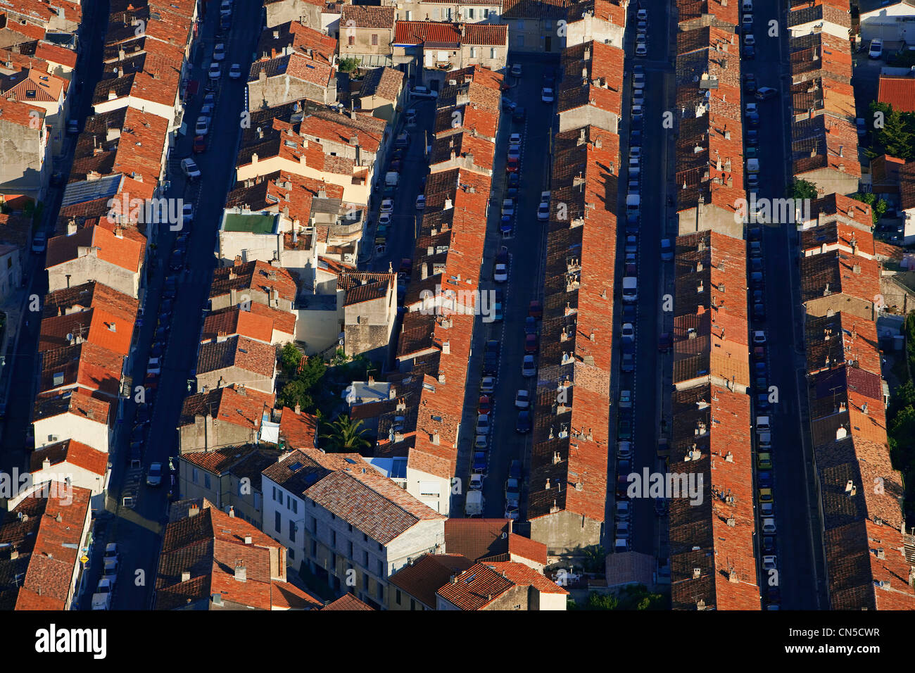France, Bouches du Rhone, Marseille, 9th district, Mazargues (aerial view) - Stock Image