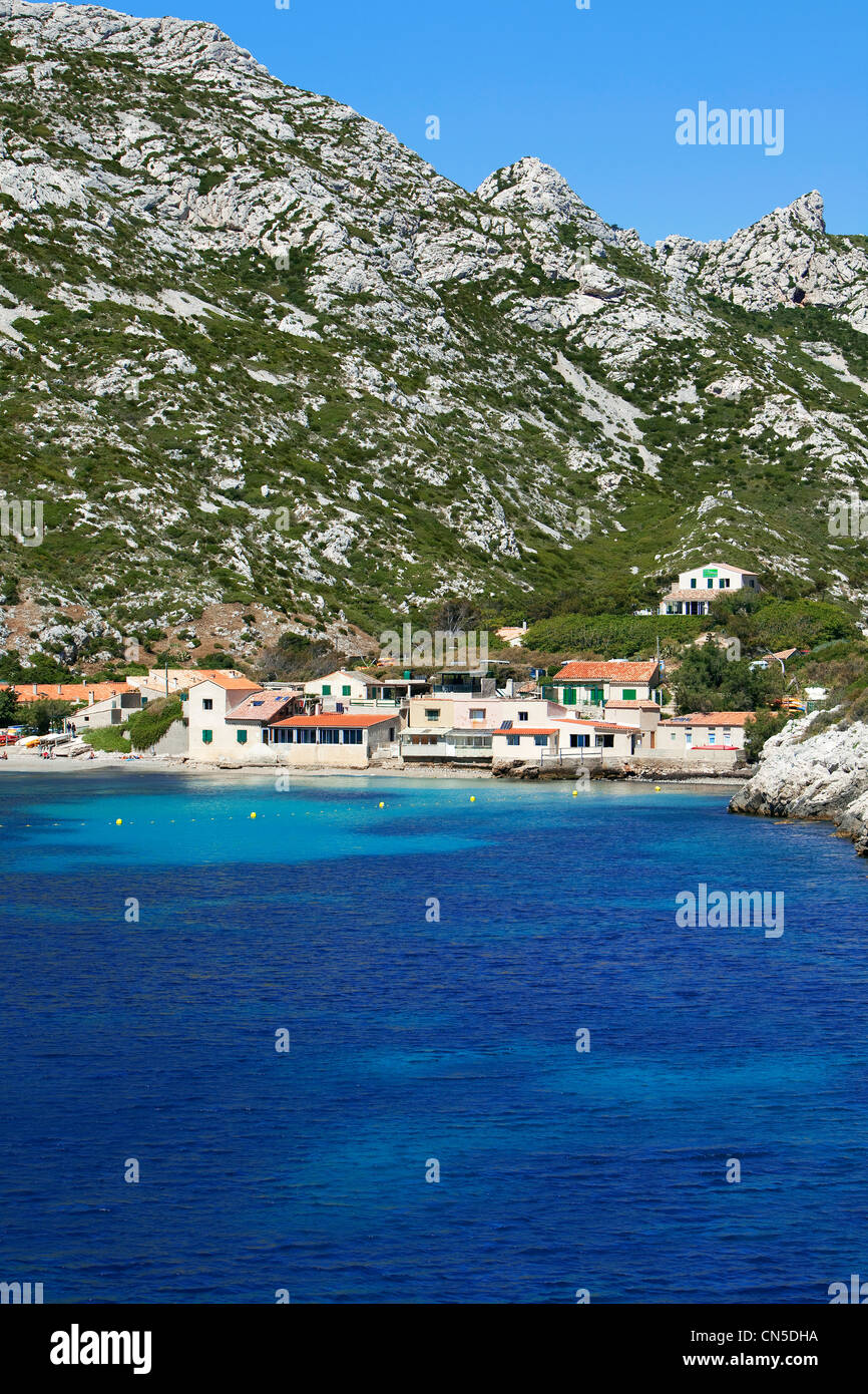France, Bouches du Rhone, Marseille, 9th district, Sormiou creek - Stock Image