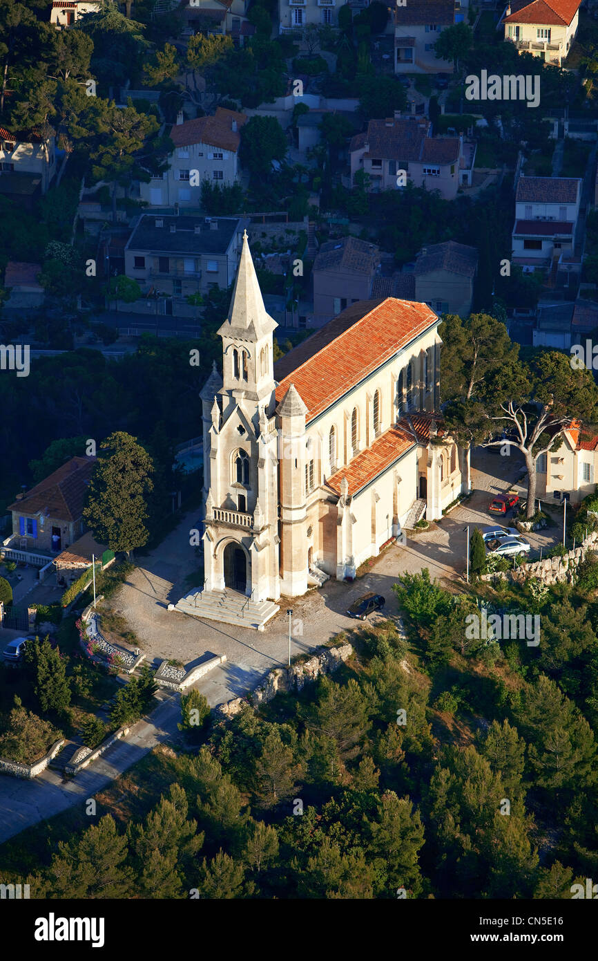 France, Bouches du Rhone, Marseille, 9th district, that of Redon, Chapel Hill St Joseph (aerial view) - Stock Image