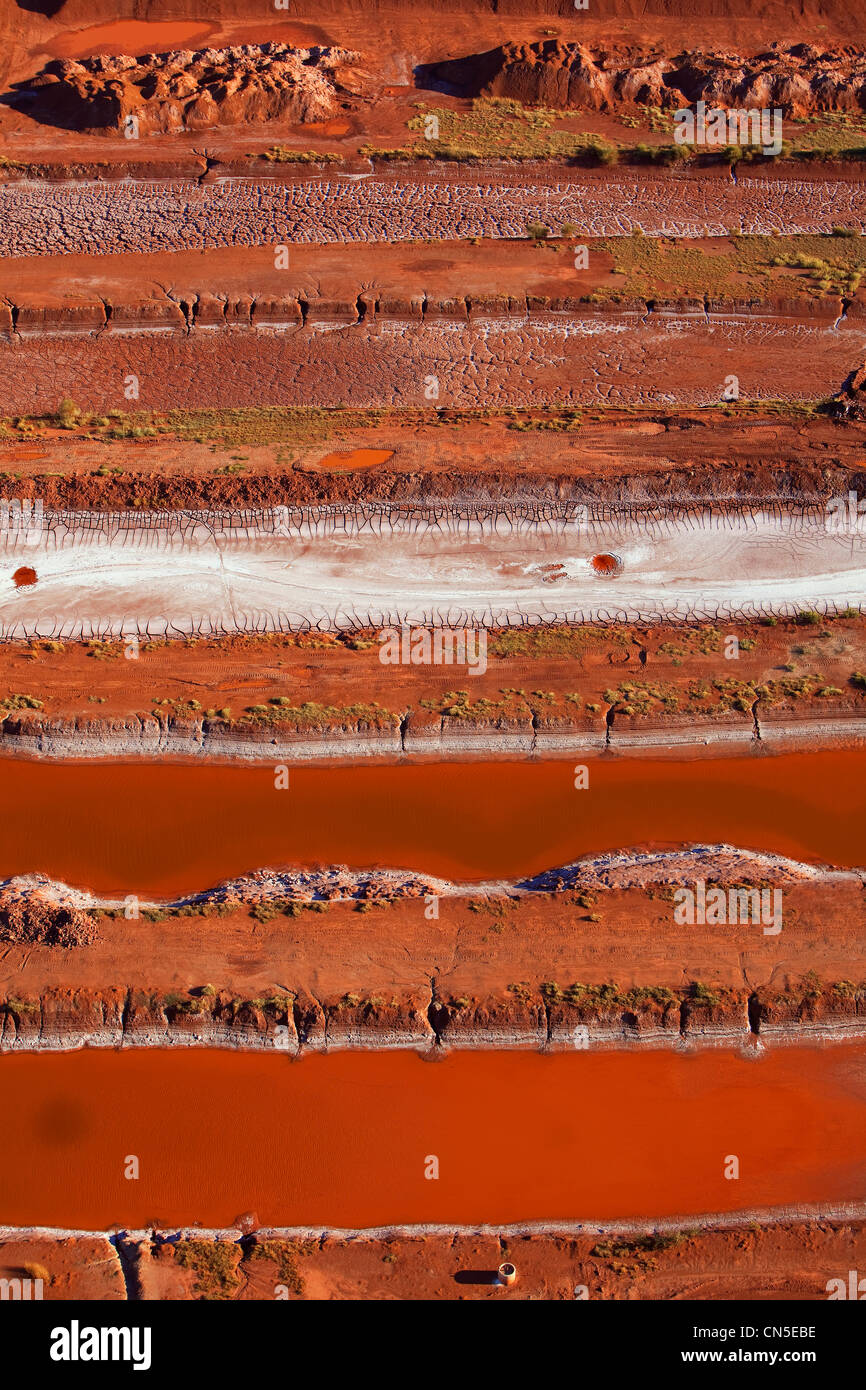 France, Bouches du Rhone, Gardanne, operation site of Bauxite, Bauxite residue in a pool located in Bouc Bel Air - Stock Image