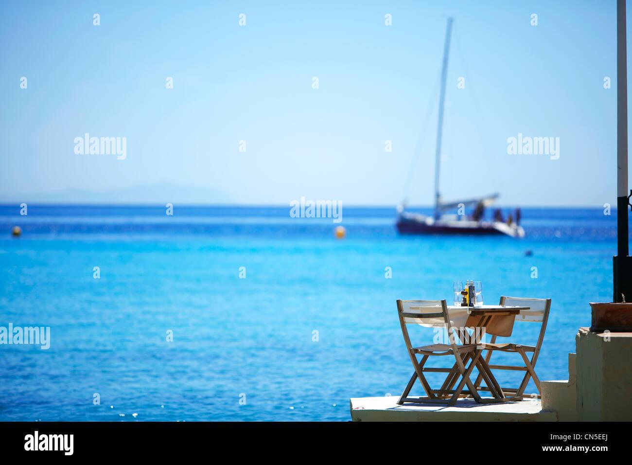 France, Bouches du Rhone, Marseille, 9th arrondissement, Calanque de Sormiou, Le Lunch Restaurant - Stock Image