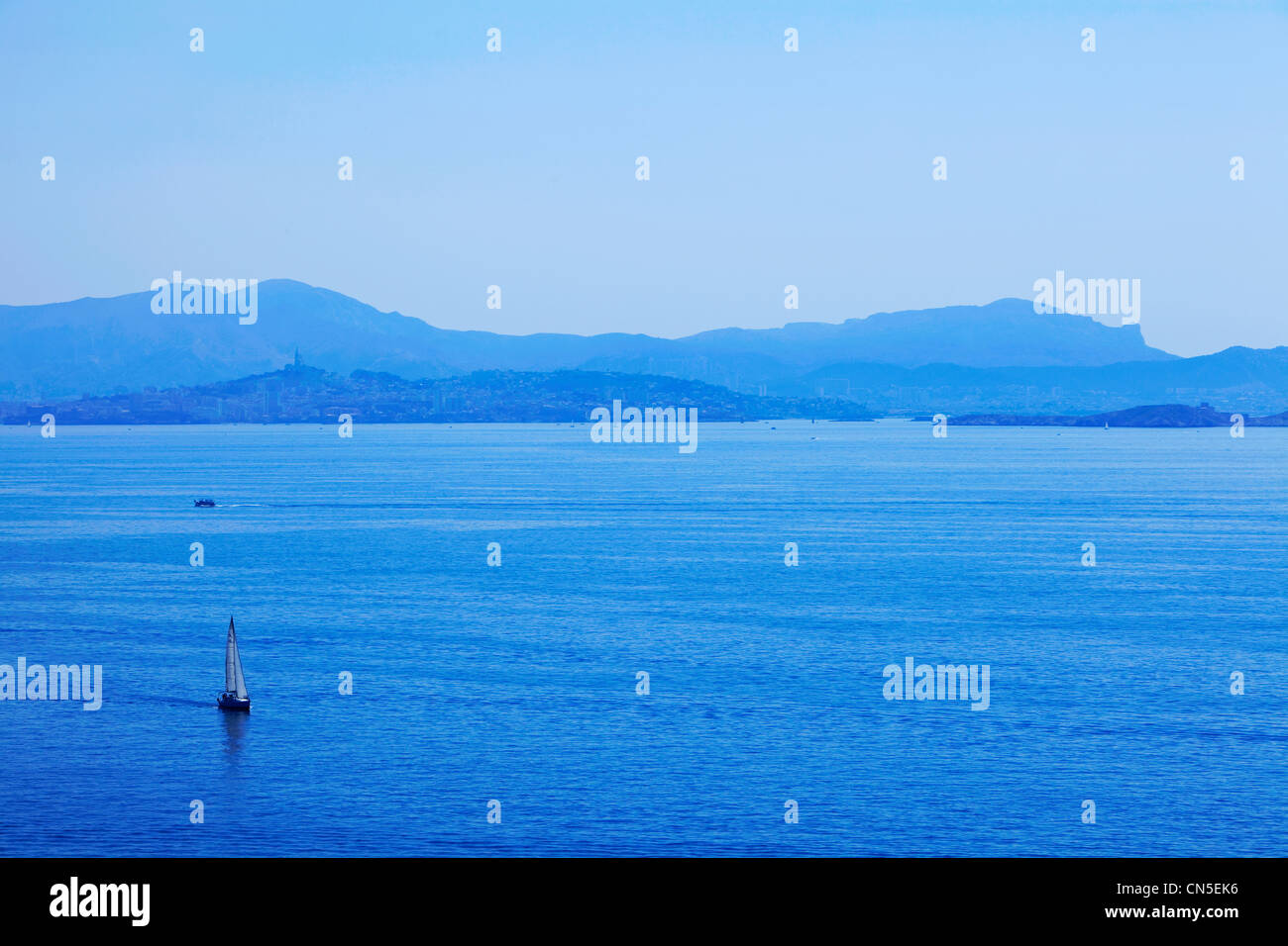 France, Bouches du Rhone, Marseilles Roads from the Cote Bleue (The Blue Coast) - Stock Image