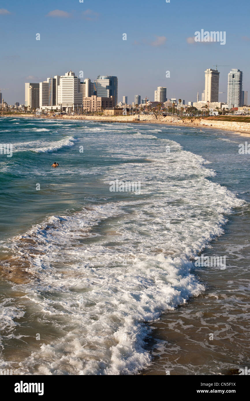 Israel, Tel Aviv, sea front view from Jaffa district - Stock Image
