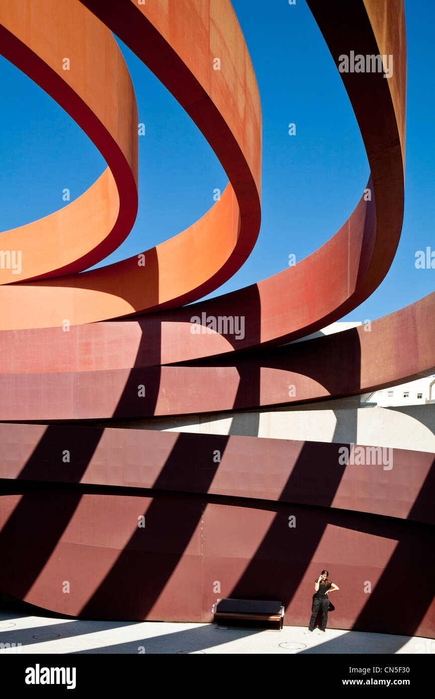 Israel, Tel Aviv, Holon, Design Museum Holon designed by Ron Arad, first museum in the country dedicated to design, - Stock Image