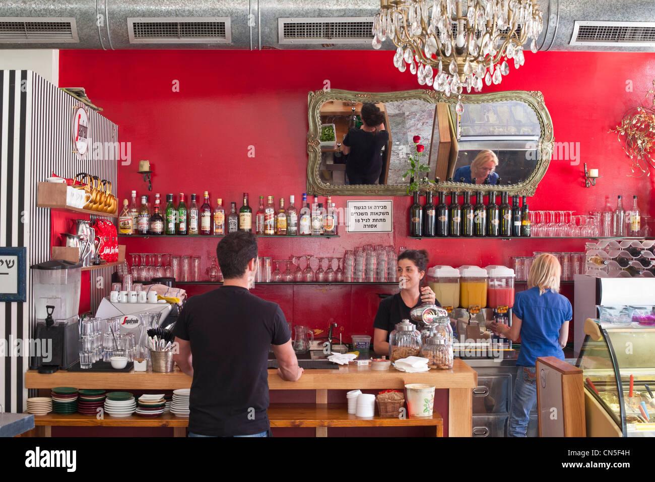 Israel, Tel Aviv, Jaffa, Flea Market District, il Yaffo Caffe - Stock Image