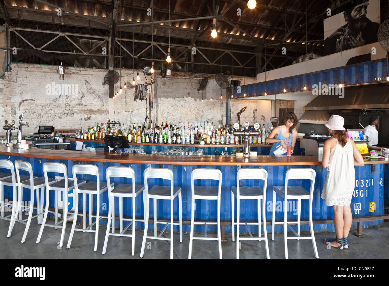 Israel, Tel Aviv, Jaffa, port, The Container restaurant, counter made of a container - Stock Image