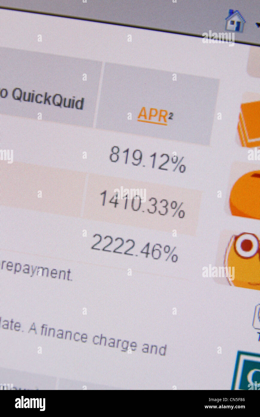 A screenshot of the QuickQuid web site showing representative APR interest rates, QuickQuid is a payday loan company - Stock Image