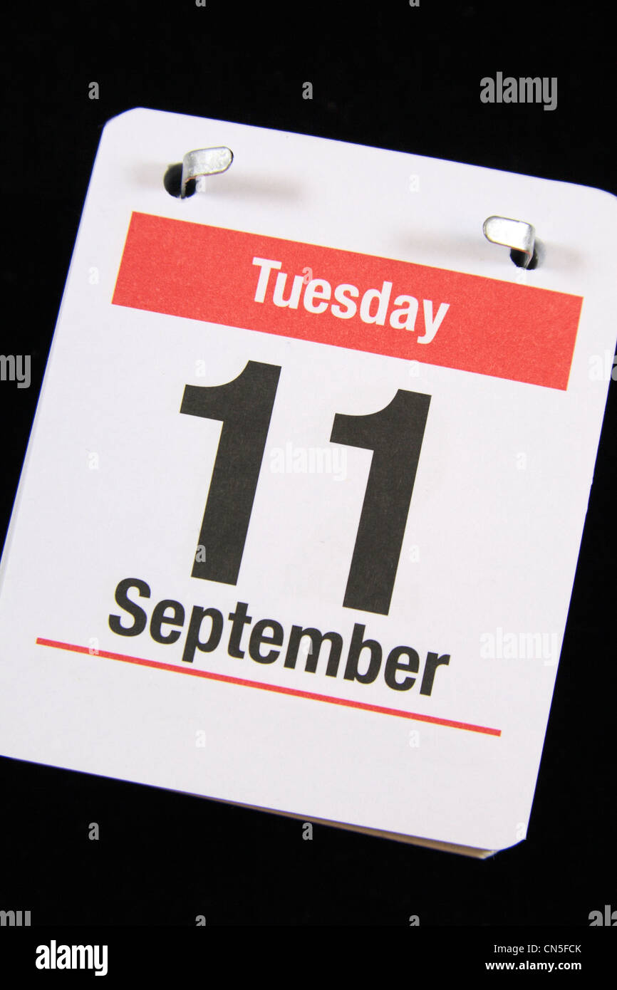 Small calender page showing Tuesday 11th September, the date of the Al-Qaeda  attack on the United States. - Stock Image