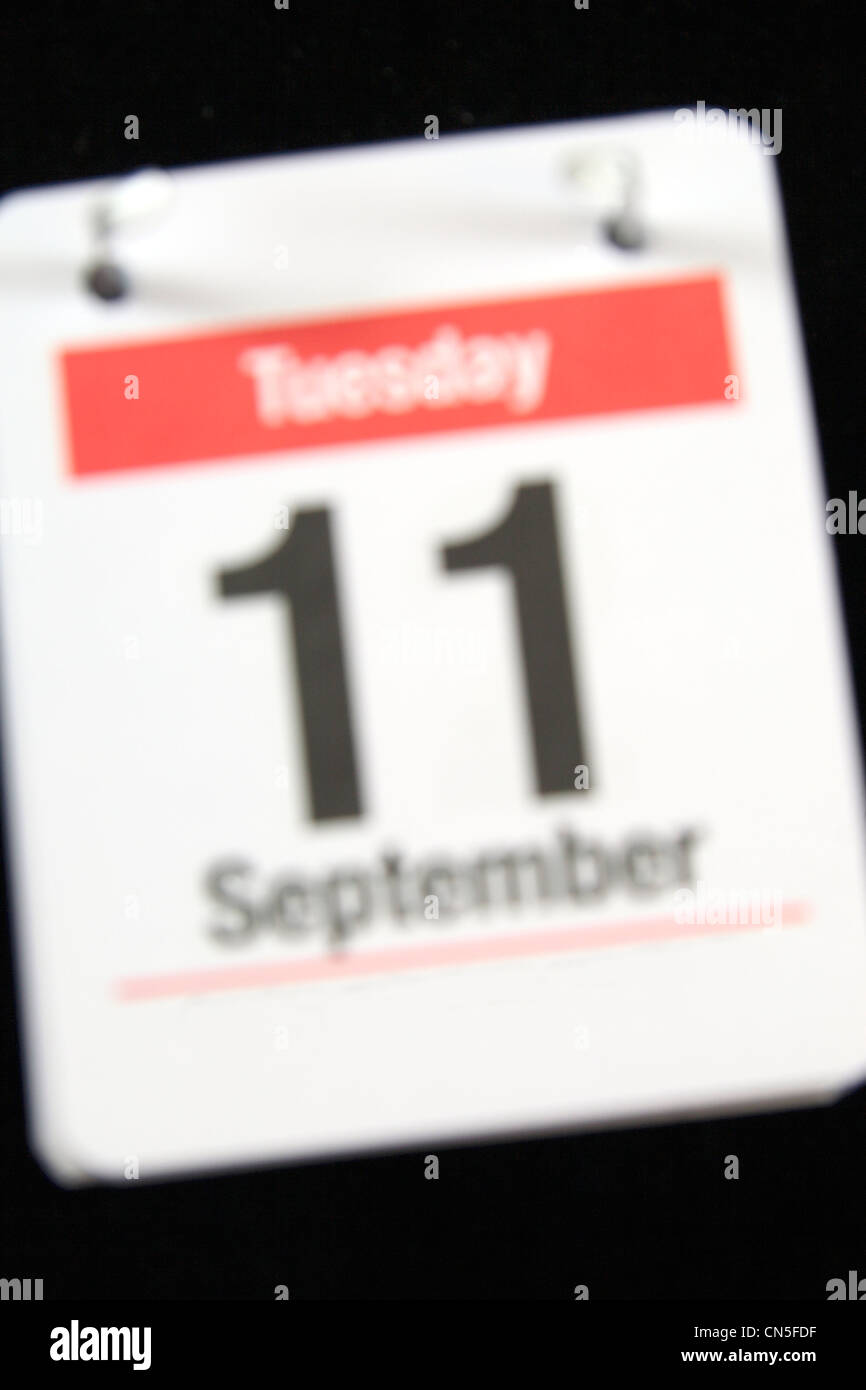 Small calender page showing BLURRED (as in fading from memory) Tuesday 11th September.. - Stock Image