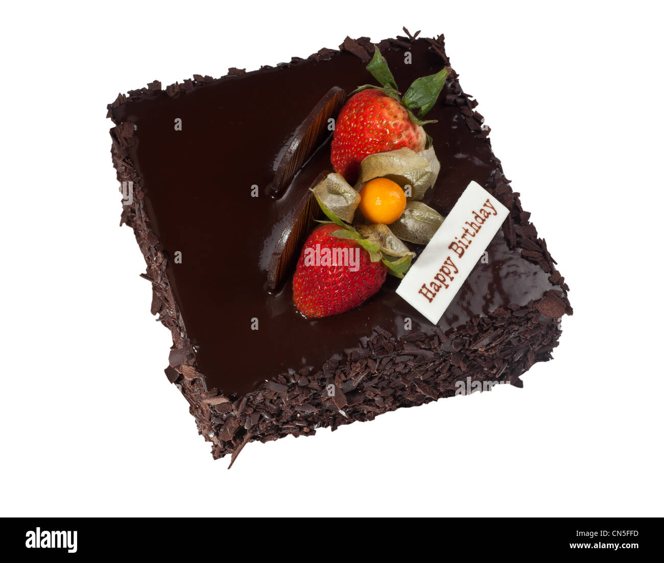 Chocolate Birthday Cake With Strawberry Topping Isolated On White Background