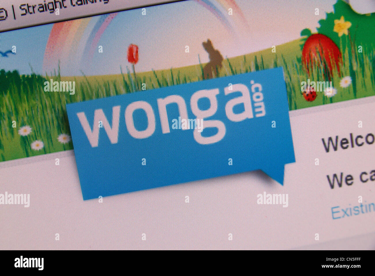 A screenshot of the Wonga.com web site & logo, a payday loan company in the UK. - Stock Image