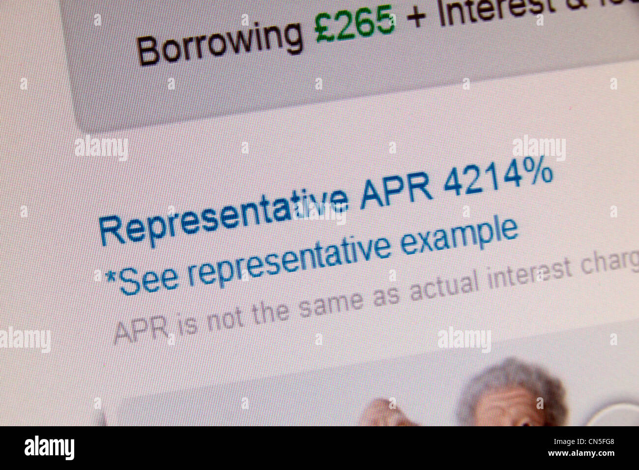 A screenshot of the Wonga.com web site showing a representative APR interest rate of 4214%. - Stock Image