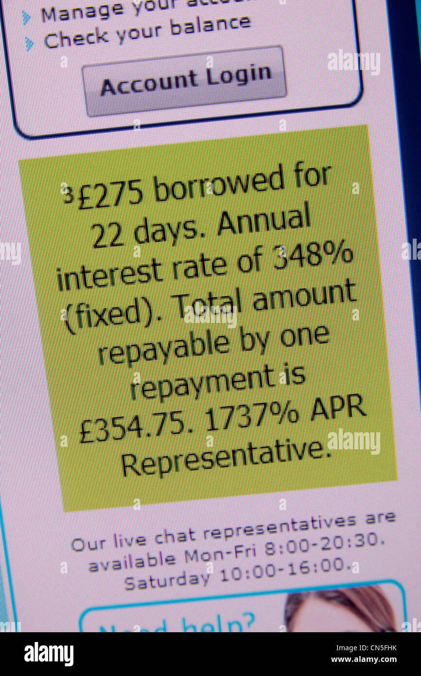 A screenshot of the PayDay UK web site showing representative APR interest rates and an example of repayments - Stock Image