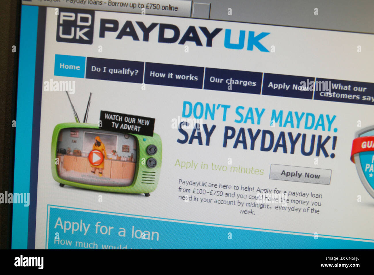 A screenshot of the PayDay UK web site, a payday loan company in the UK. - Stock Image