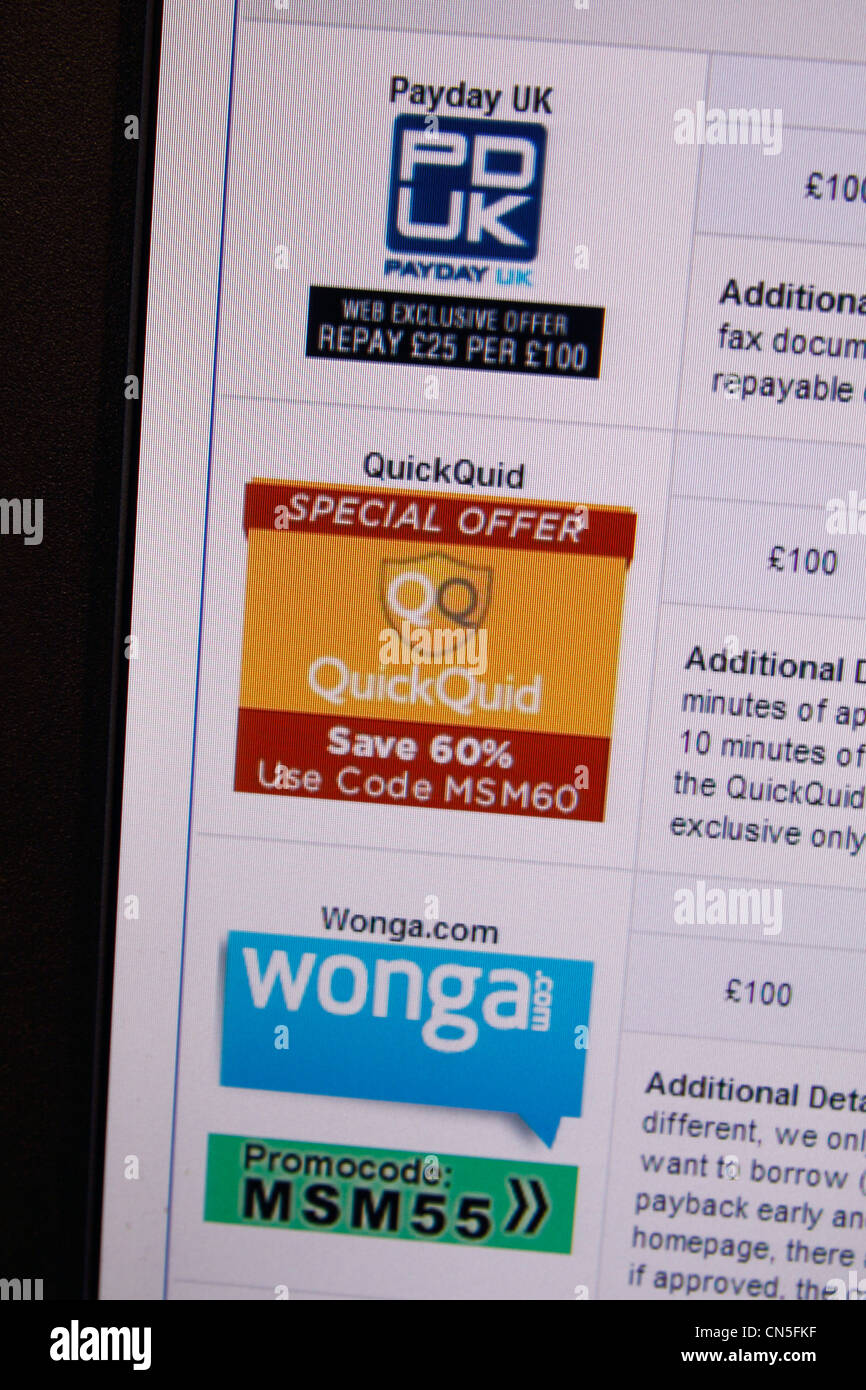 A screenshot showing a selection of payday loan companies in the UK (PayDay UK, QuickQuid & Wonga.com). - Stock Image