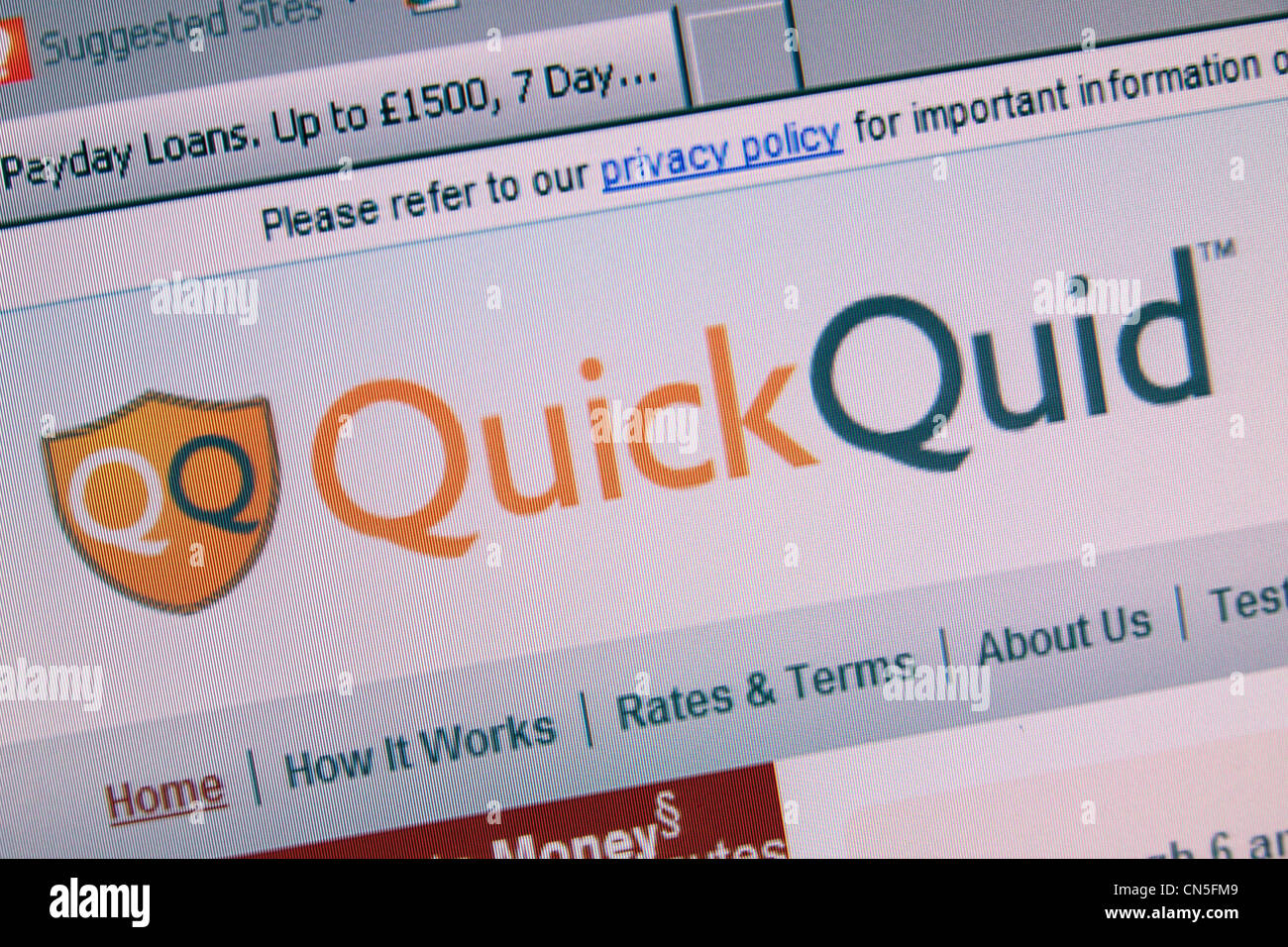 A screenshot of the QuickQuid web site, a payday loan company in the UK. - Stock Image