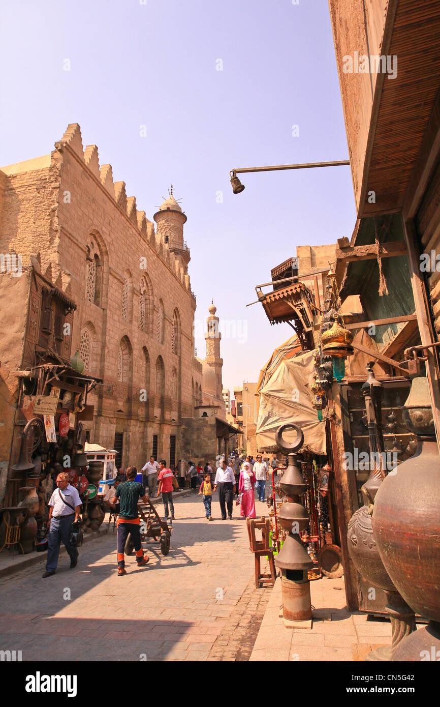 street facade, Complex of Qalawun, Cairo, Egypt - Stock Image