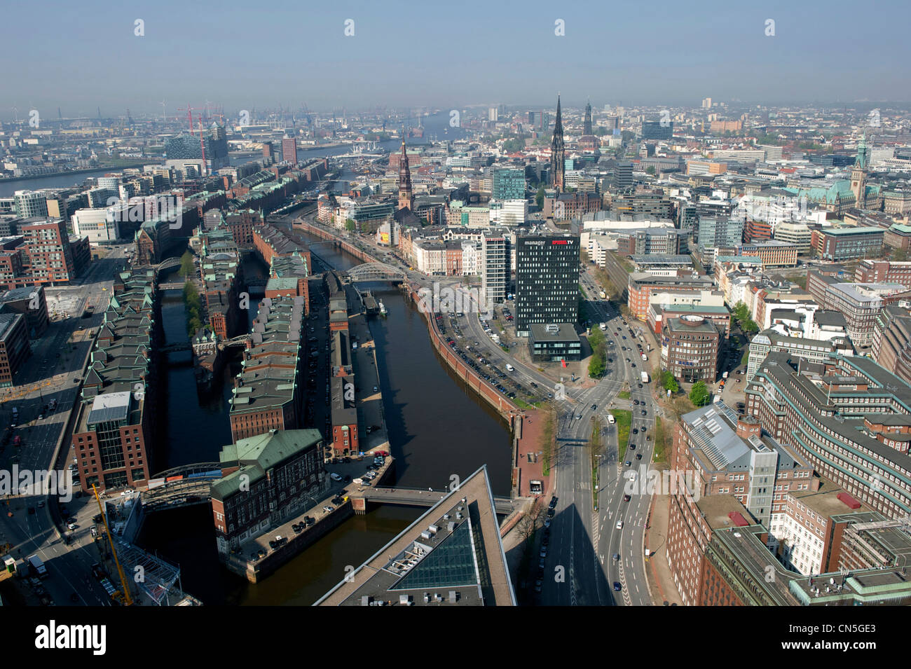 Germany, Hamburg, European Green Capital 2011, general view of Speicherstadt, district housing the largest historical Stock Photo