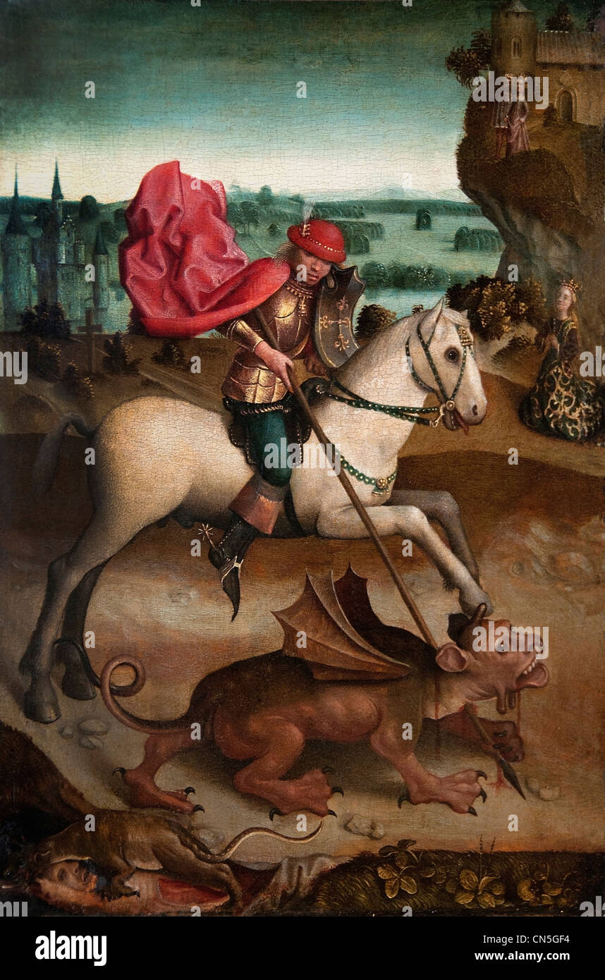 Battle of St. George against the dragon  - Upper Rhine late 15 th Century German Germany Hans Baldung Grien or Hinrich - Stock Image