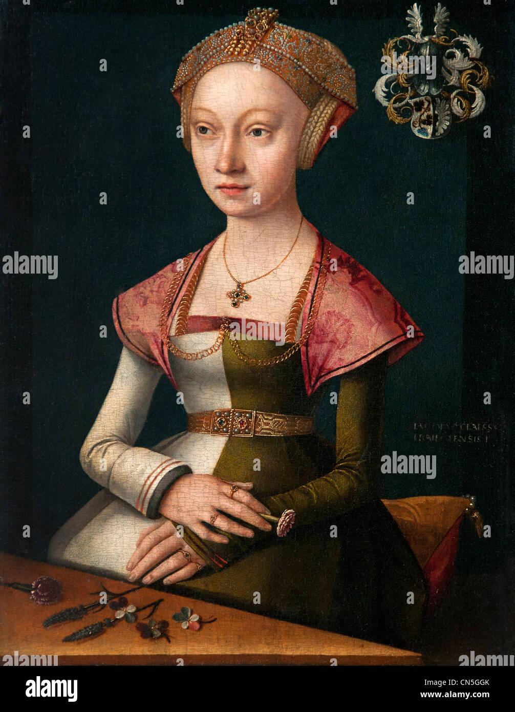 Portrait of woman holding a Nut by CLAESZt Jacob Jacob van UTRECHT Utrecht 1506 - 1532 Dutch Belgian - Stock Image