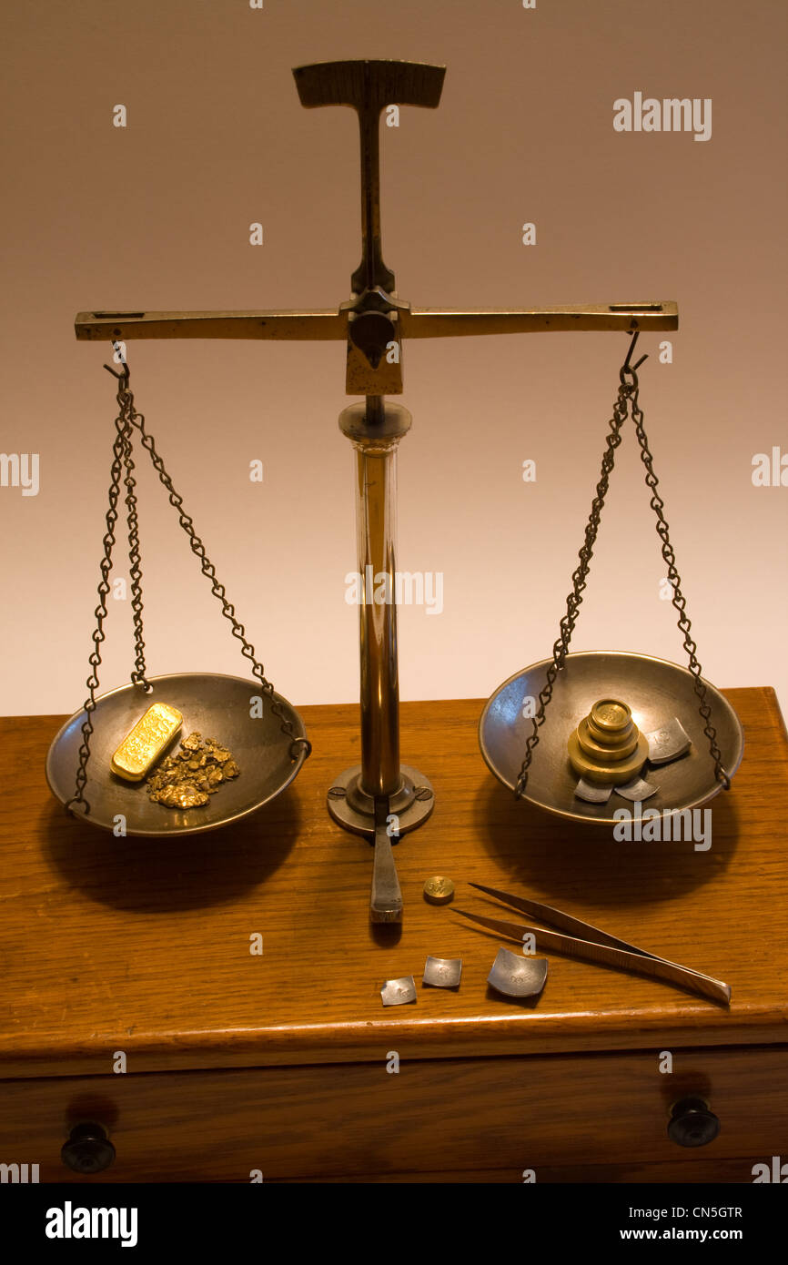 Antique Balance Scale from California - Used to Weigh Gold Nuggets - Stock Image