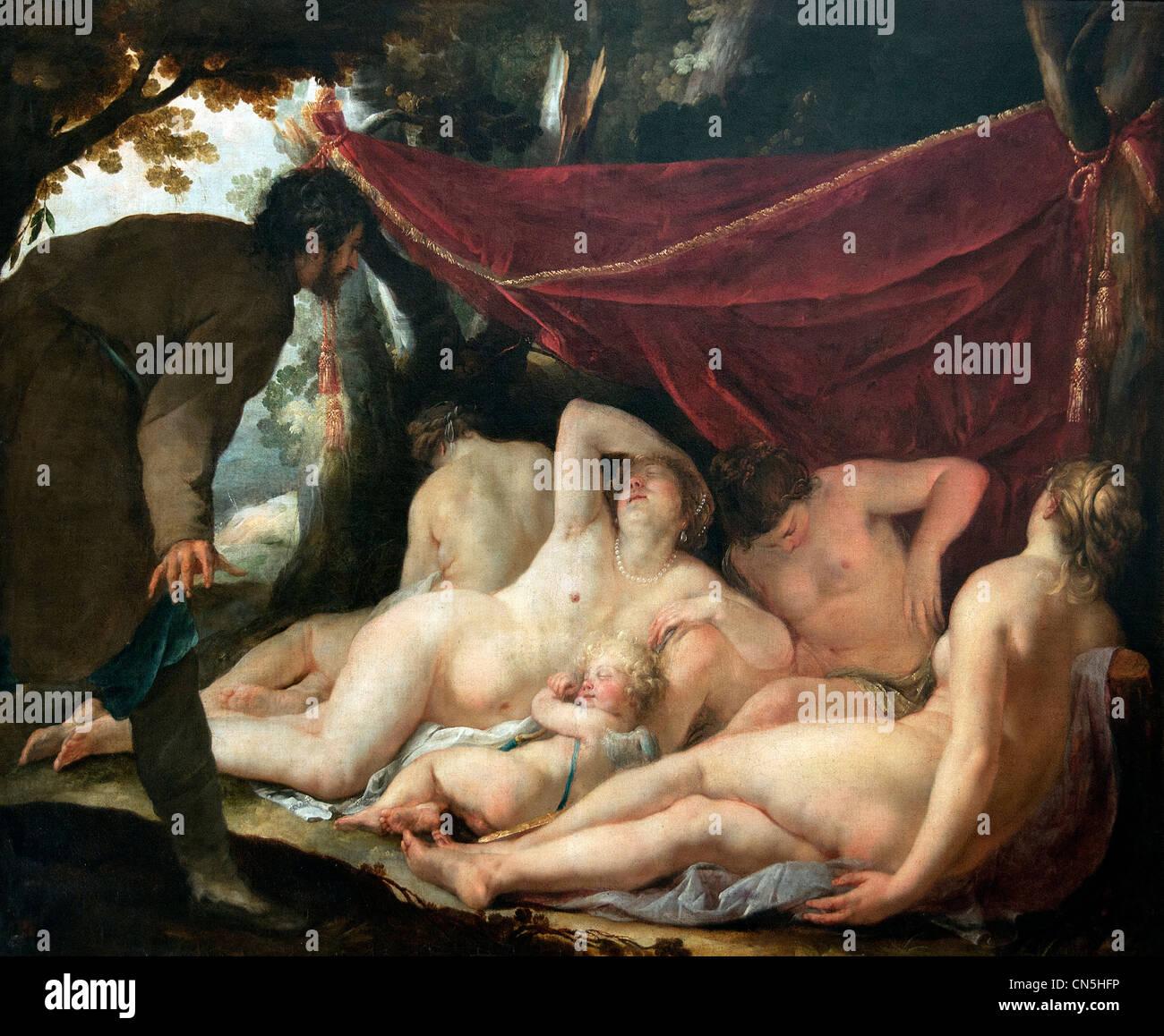 Vénus et les Grâces surprises par un mortel - Venus and the Graces Surprised by a Mortal 1631 Jacques - Stock Image