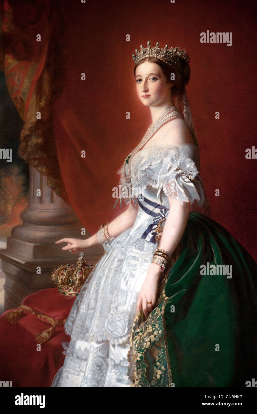 Empress Eugénie wife Emperor Napoleon III of France wearing pearl and diamond tiara 1860 by Franz Xavier Winterhalter - Stock Image