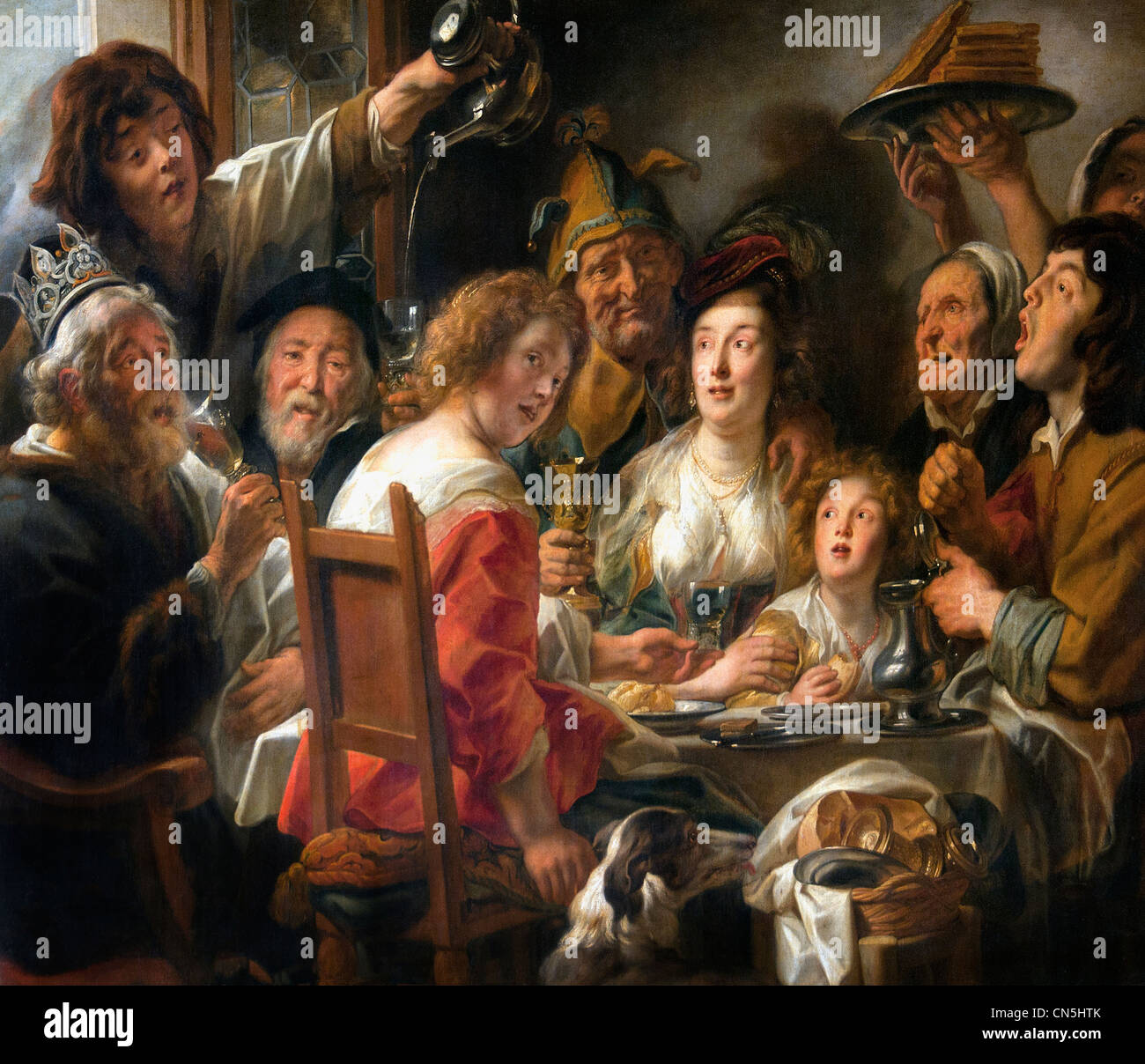 The king drinks - Family meals the day of the Epiphany Jacob JORDAENS 1593 - 1678 Belgium Begian - Stock Image