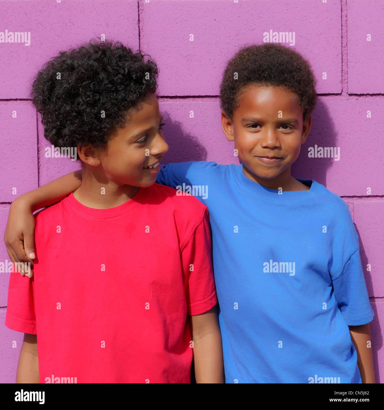happy little African descent black children - Stock Image