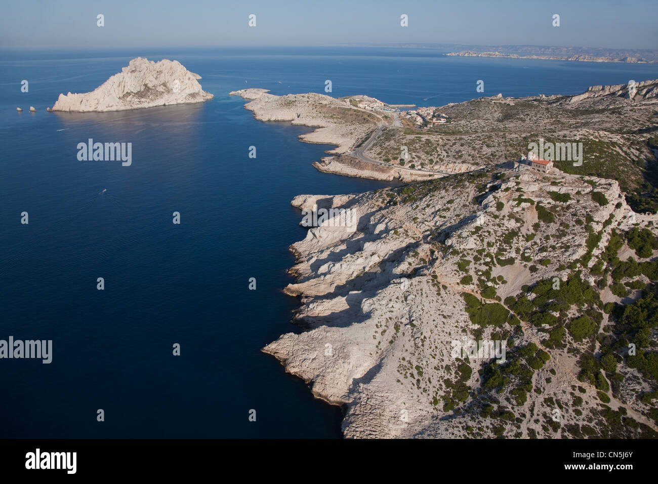 France, Bouches du Rhone, Callelongue Semaphore and Ile Maire (aerial view) Stock Photo