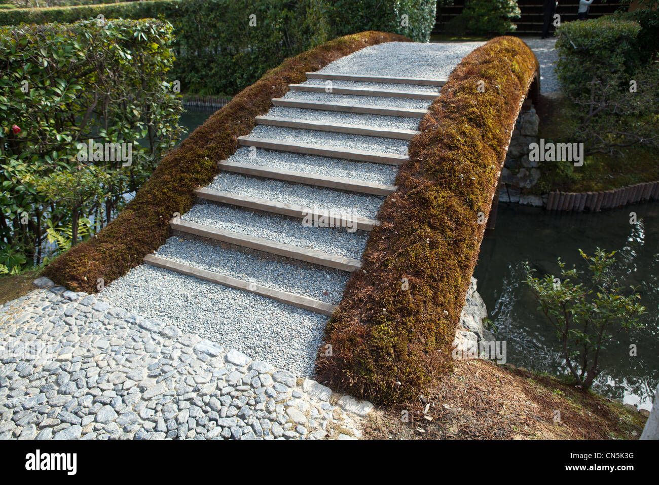 Earthen Bridge at Katsura Rikyu Imperial Villa, Kyoto - Stock Image