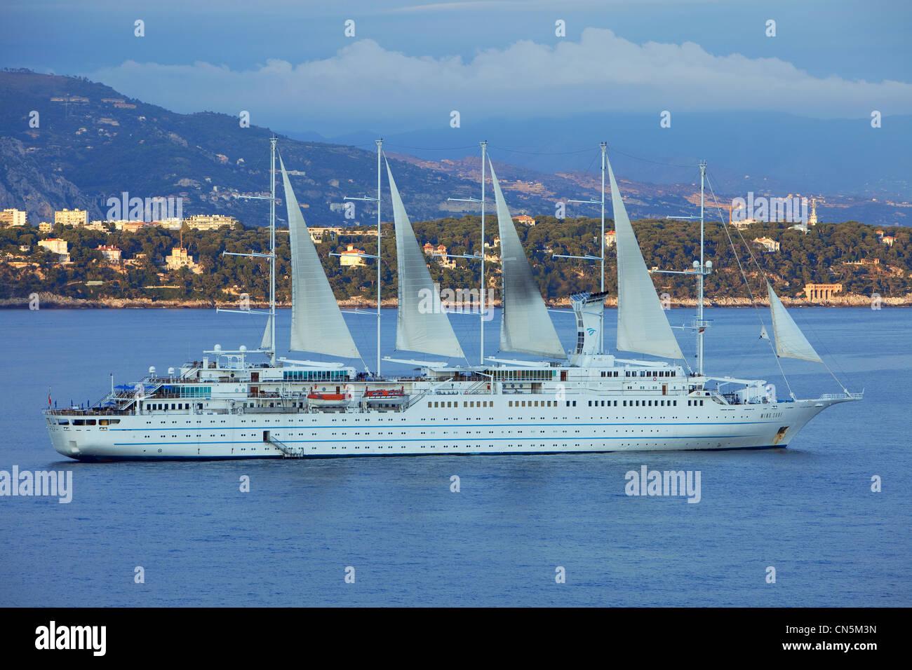 Principality of Monaco, Monaco, Club Med cruise ship to the bottom Cape Martin - Stock Image