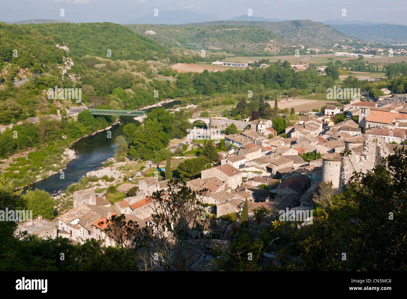 France, Ardeche, the Medieval Vogue, labelled Les Plus Beaux Villages de France (The Most Beautiful Villages of - Stock Image