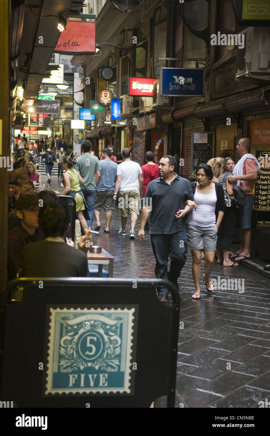 Australia, Vicoria, Melbourne, downtown, Arcade of Degraves Street - Stock Image