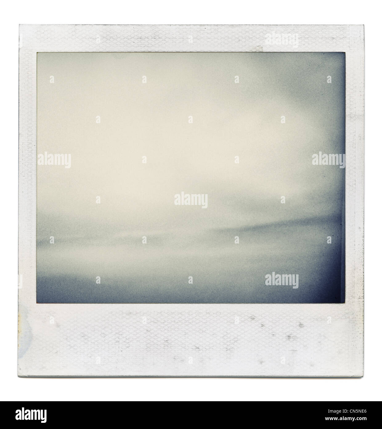 Designed grungy instant film frame with abstract filling isolated on white, kind of background, vintage hard grain - Stock Image