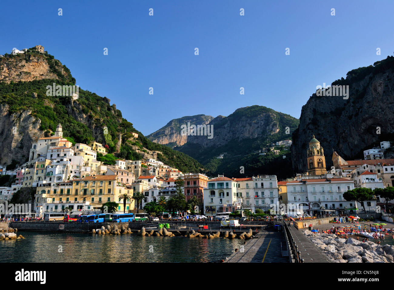 Italy, Campania, Amalfi Coast, listed as World Heritage by UNESCO, Amalfi, the harbour - Stock Image