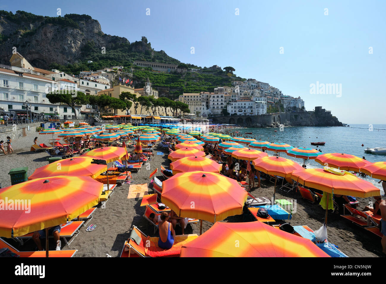 Italy, Campania, Amalfi Coast, listed as World Heritage by UNESCO, Amalfi, the beach - Stock Image