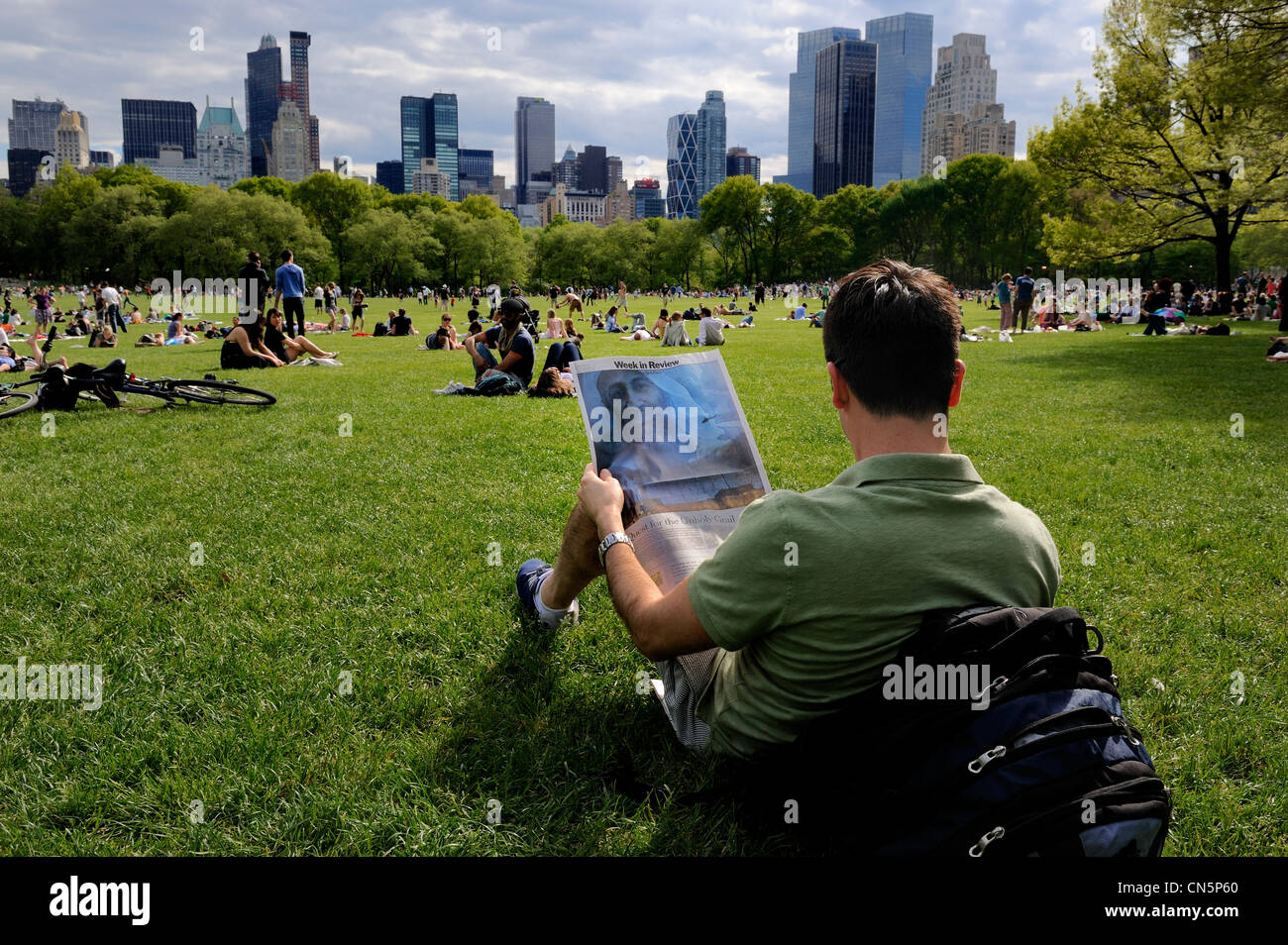 United States, New York City, Manhattan, Central Park, Sundays on The Sheep Meadow, announcement of the death of - Stock Image