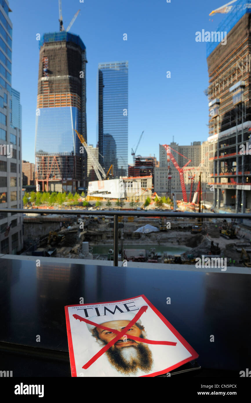 United States, New York City, Manhattan, reconstruction at Ground Zero with the One World Trade Center (Freedom - Stock Image